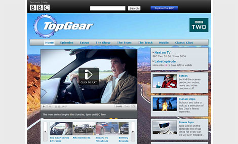 Новая официальная страница Top Gear на сайте BBC