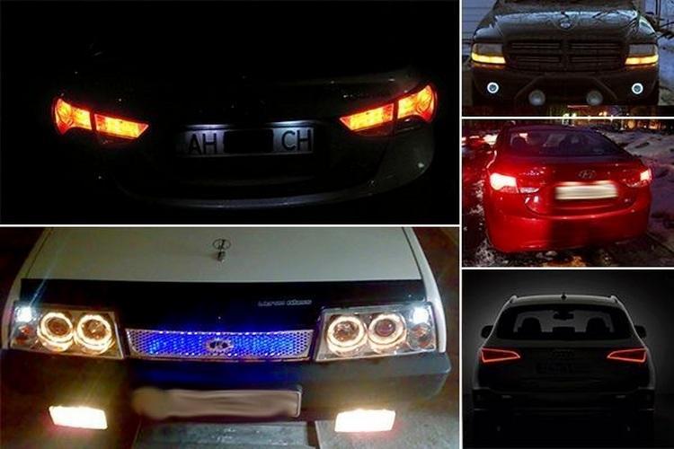 Габаритные огни у разных машин