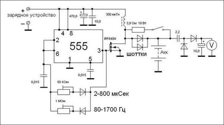 Схема устройства для десульфатации аккумулятора