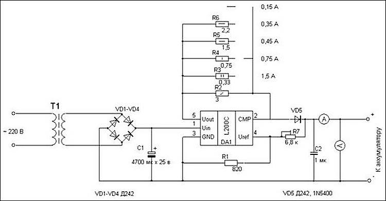 Схема зарядного для гелевых аккумуляторов