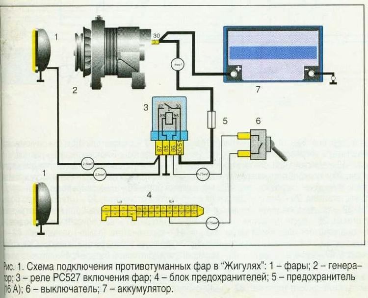 Схема подключения противотуманок
